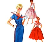 50s Sailor Dress Vintage Pattern Simplicity 2366 Slim or Full Skirt Bust 32 Teen