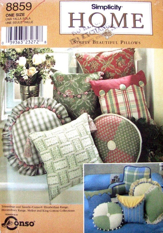 Pillow Cover Bed Rest Sewing Pattern Simplicity 8859 Uncut