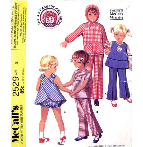 70s Girls Jacket Top Pinafore Pants & Bloomers Vintage Pattern McCalls 2529 Size 2