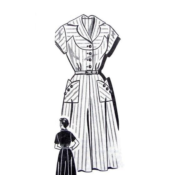 50s Shirtwaist Dress Vintage Pattern Mail Order 8251 Curved Yoke Bust 35 Size 16 1/2