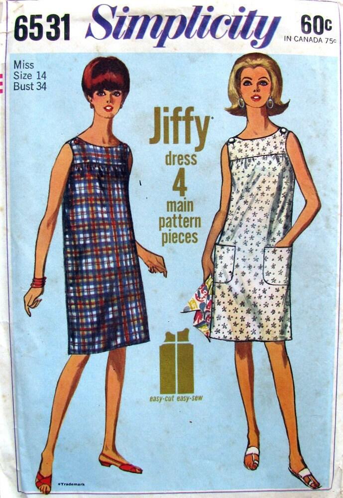 Uncut 1960s Shift Dress Vintage Pattern Simplicity 6531 Bust - photo#12