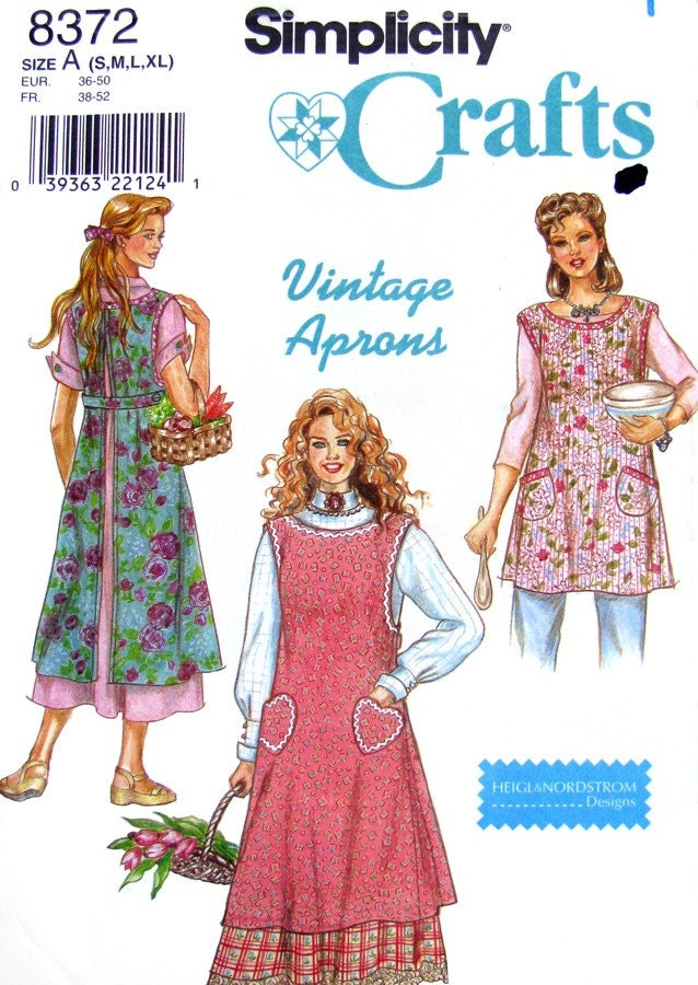 Vintage Style Full Apron Sewing Pattern Simplicity 8372 UNCUT