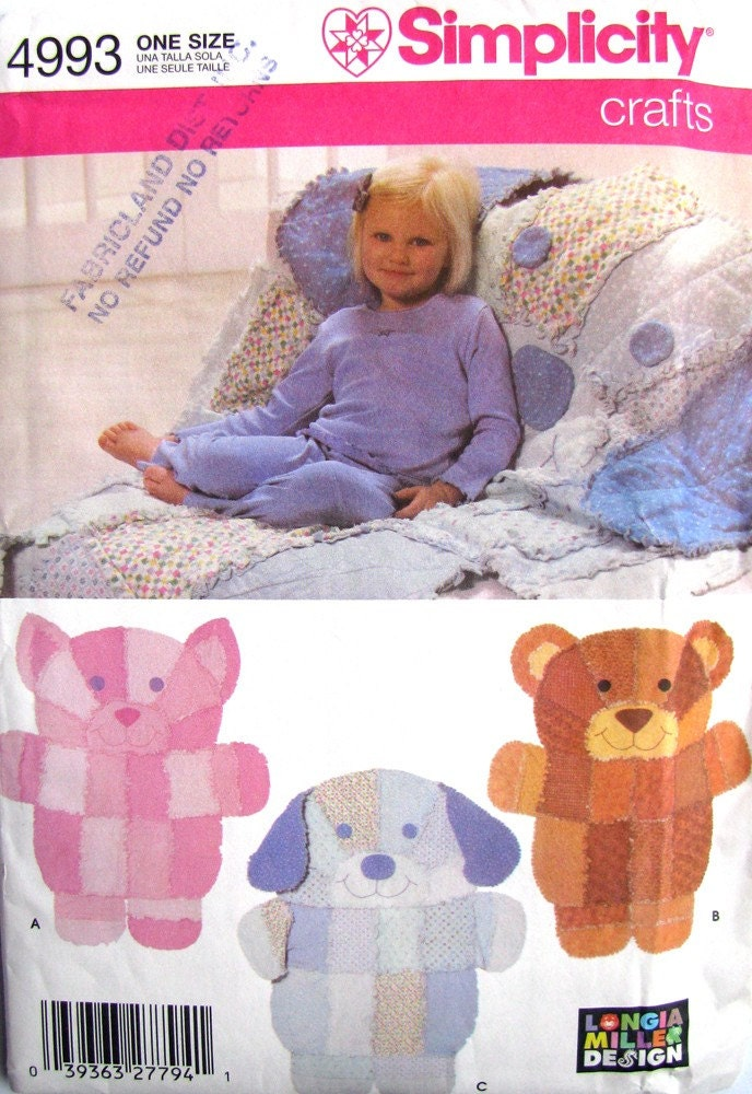 Uncut sewing pattern rag quilt throws cat bear dog for Simplicity craft pattern 4993