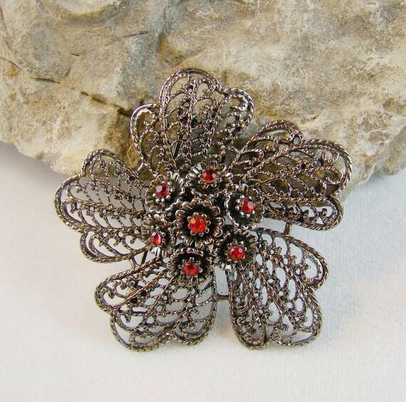 Sale :) Gun Metal Red Rhinestone Pin Brooch - Dainty Spring Flower - Lacy Design On Etsy