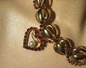 Weave Me Into Your Heart Statement Necklace - Gold Chain Woven with Red Rhinestones, embellished with a Vintage Rhinestone and Pearl Brooch