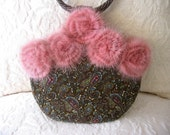BROWN and PINK PAISLEY VELVETEEN EVENING BAG with PINK MINK ROSES and HANDMADE LATTE BEADED BANGLE HANDLES