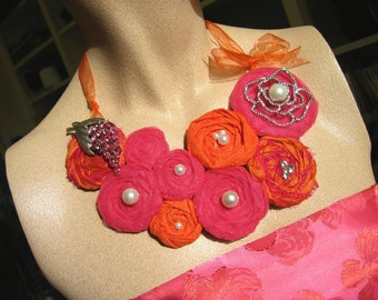 BOLD STATEMENT NECKLACE in HOT PINK AND ORANGE with VINTAGE/NEW RHINESTONE BROOCHES  and PEARLS