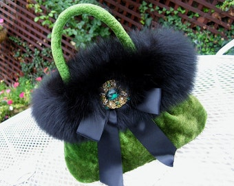 EMERALD GREEN VELVET EVENING BAG with BLACK FOX TRIM, SATIN NOIR BOW and VINTAGE RHINESTONE and PEARL BROOCH, FIT FOR A QUEEN