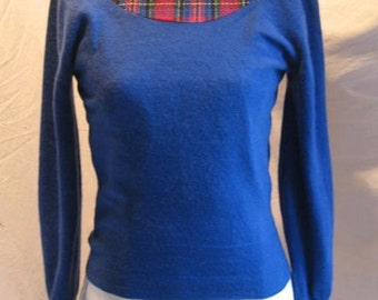 Blue Cashmere Sweater Plaid Wool Yoke Insert