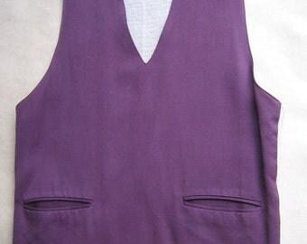 Vintage Vest for Men Fabric Front Knit Back