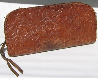 Vintage Clutch Bag Of Tooled Leather