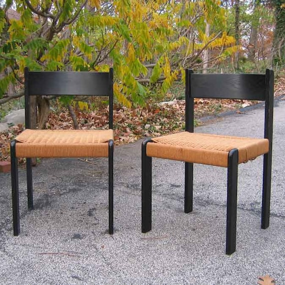 Reserved-1980's 2 Chairs Black Wood Frame Woven Seat