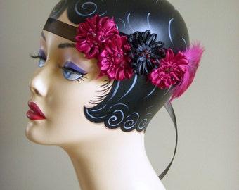 Gatsby Headband, Flapper Style Hair, Deco Style Headband, Flower and Feather Fascinator, Wine and Black, Choker, Cuff, Sash, Handmade in USA