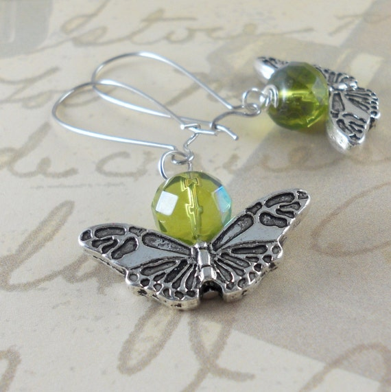 Silver Butterfly and Shimmering Green Beaded Earrings