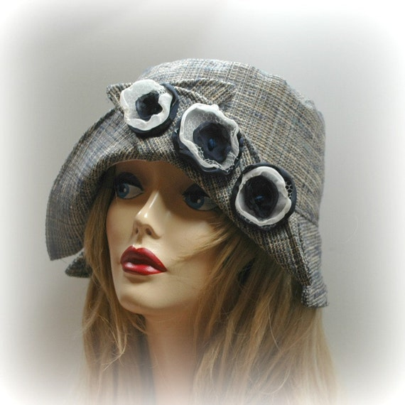 Cloche Hat ,Navy Blue with Crossover Brim and Flowers the Lillian, Fall through Spring Free Shipping