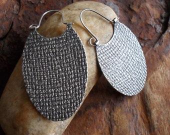 Sterling Silver Hoop Earrings, Oval Sterling Hoops, Textural Artisan Hoop, Large Modern Contemporary Urban Handwrought Silversmith Earrings