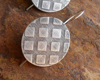 Sterling Silver Earrings, Modern Contemporary Urban Industrial Geometric Textured Charcoal Tribal Shield Metalsmith Sterling Earrings