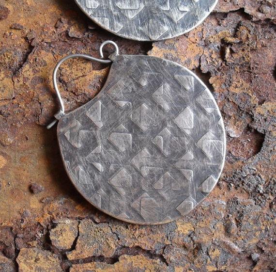 Sterling Silver Hoop Earrings, Large Sterling Hoops, Metalsmith Hoop, Textured Hoops, Ethnic Tribal Hoops