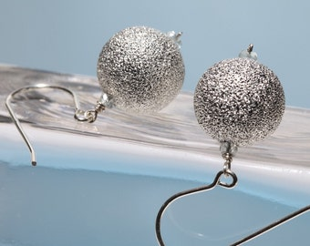Round Silver Ball Earrings on Sterling Silver Ear Wire - The Snowball Earring