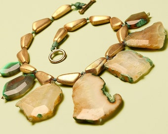 Oversized Statement Necklace -- Giant Green Agate and Gold Choker Necklace