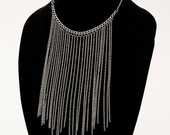 Long Silver Chain Necklace - Silver Fringe Chain Neckalce