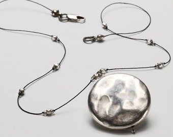 Silver Pendant Necklace - Big Round Silver Disk Choker Necklace with Silver Mini Beads