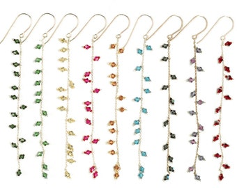 Long Swarovski Crystal Earrings Dangling on Sterling Silver Fine Chain - Choose Your Color