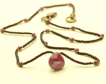 Pink Sapphire Faceted Teardrop Chocker Necklace with Pink Garnet and Brown Glass Microbeads