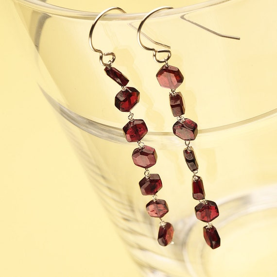 Garnet Dangle Earrings with Hexagon Shaped Semi Precious Stones and Sterling Silver Ear Wire