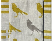 Mustard and gray bird linen- hand screen printed linen - eco-friendly - celina mancurti