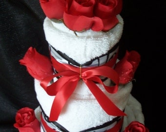 3 Tier Vanilla Towel Cake with Red Roses, Bridal Shower Towel Cake, Housewarming Gift, Wedding Gift, Bath Towels, Bridal shower gift