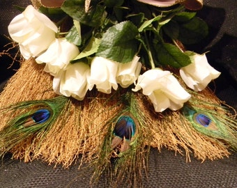Decorative Wedding Broom with White Roses, Peacock Feathers and Gold/Purple/Teal/Accents