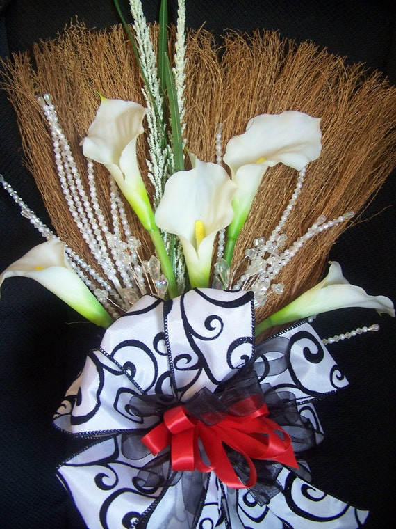 Decorative Wedding Broom with White Calla Lillies and Black/White/Red Accents