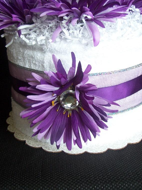 1 Tier Vanilla Towel Cake with Purple Daisy, Bridal Shower Towel Cake, Housewarming Gift, Wedding Gift, Bath Towels, Bridal shower gift
