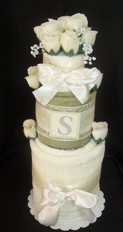 3 Tier French Vanilla & Pistachio Monogram Towel Cake, Personalized Towel Cake, Bridal Shower Towel Cake, Housewarming Towel Cake