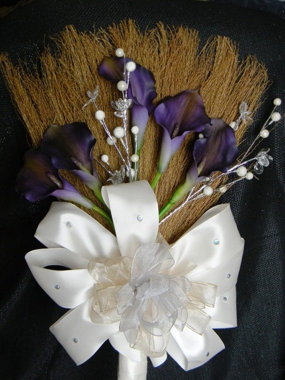Wedding Broom with Purple Calla Lilies and Champagne/Ivory/Silver Accents, Purple Jumping Broom, Purple Wedding Broom, Decorative Broom