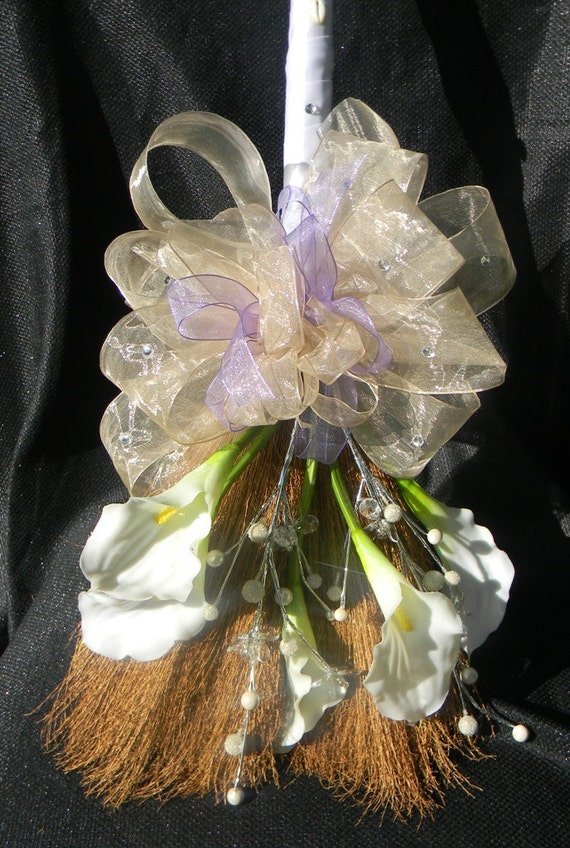 Decorative Wedding Broom with White Lillies and Champagne & Lavender Accents