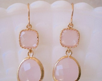 Blush Pink Earrings, Gold Earrings, Bridesmaid Earrings, Best Friend Birthday, Mom, Mother, Sister, Wife