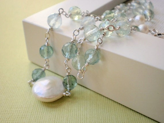 Blue Green Fluorite and Coin Pearl Necklace