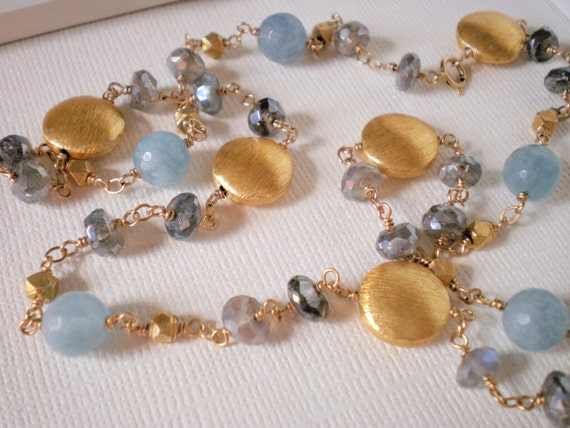 Blue Quartz, Mystic Labradorite, Gold Nuggets and Discs Necklace