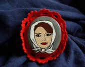 Audrey - hand painted brooch