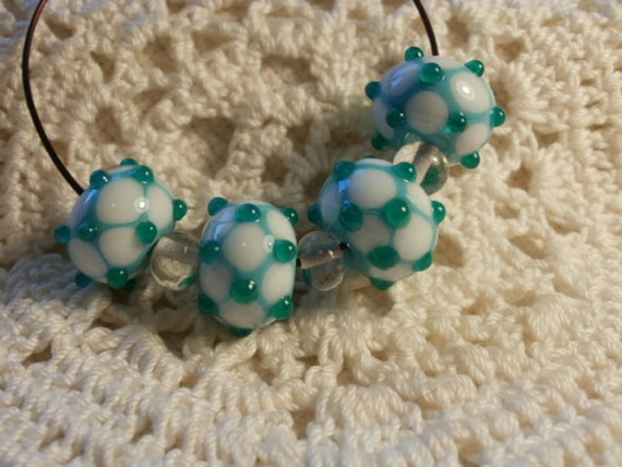 "4 Handmade Lampwork Glass ""Wonky"" Beads in Turquoise and White (ID 4-2)"