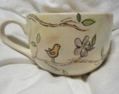 large cappuccino mug with birds and flowers