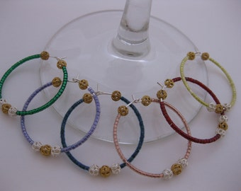 Royal Rainbow w/Silver & Gold - Wine Glass Charms - Set of 6, Large Fancy Silver / Gold Filigree Beaded Multi-Colored Metallic Beaded Charms