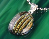 Sterling .925 Silver Handmade Dichroic Fused Glass Pendant Necklace