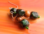 Handmade DICHROIC Glass Redwood Earrings Sterling Silver .925
