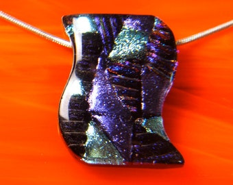 Handmade DICHROIC Fused Glass Pendant Necklace Bead