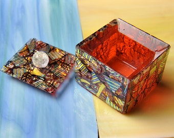 Handmade Dichroic Fused Glass Jewelry Box ...LOADED With FREE JEWELRY...