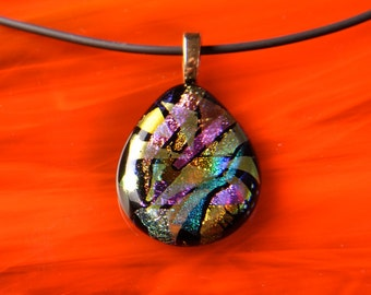 Handmade Gold Dichroic Fused Glass Pendant Necklace