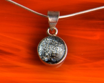 CLEARANCE Solid Sterling Silver .925 Handmade Dichroic Fused Glass Pendant Necklace